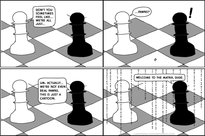 don't you sometimes feel like we're all just pawns? um, actually we're not even real pawns. welcome to the matrix dude